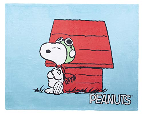 INTIMO Peanuts Snoopy The Flying Ace Leaning On Red Doghouse Silk Touch Fleece Plush Throw Blanket