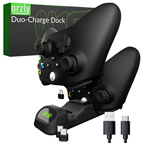 Orzly Duocharger para PS5 Dualsense - Cargador de Mandos Compatible con: PS5 Playstation 5, Xbox Series X | S Stadia y Nintendo Switch - Base de Carga USB-C Edición Stealth Black [Negro]