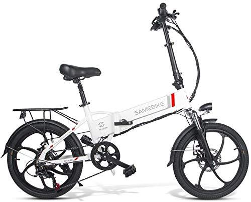 ANCHEER SAMEBIKE Bicicletta Elettrica, Bici Elettrica Pieghevole 20 Pollici con Batteria al Litio 48V 10,4 Ah, Shimano 7 velocità 350 W Motore 30 km/h (Nero)