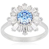 SWAROVSKI Women's Sunshine Floral Ring Collection, Rhodium Finish, Blue Crystals, Clear Crystals