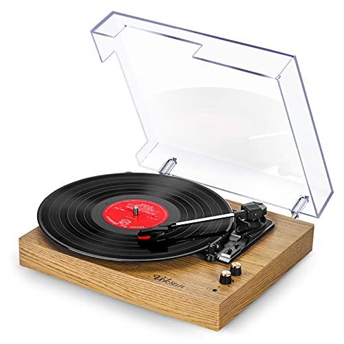 Tocadiscos de Vinilo Vintage, VOKSUN Tocadiscos Bluetooth con 2 Altavoces Incorporados, Reproductor de 3 Velocidades 33/45/78 RPM, Transcripción de Vinilo a Digital/RCA/USB/AUX(Color Madera)