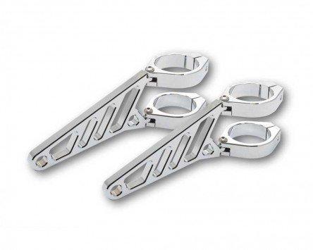 Lampenhalter Motorrad Highsider lang CNC Alu Set für 50-52-54 mm Gabel,Chrom