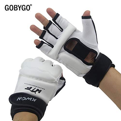 DJLHNHalf Finger Boxhandschuhe PU Leder MMA Fighting Kick Boxhandschuhe Karate Muay Thai Trainingshandschuhe Kinder Männer - New White, XL