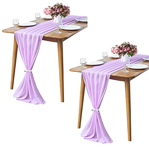 2 Pieces 10Ft Lavender Chiffon Table Runner Sheer 29x120 Inch for Romantic Wedding Decor Bridal & Baby Shower Birthday Rustic Party Decoration