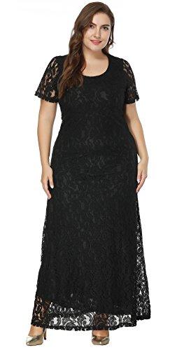 Leezeshaw Womens Celebrity Plus Size Oversize Scoop Neck High Waist Slim Solid Lace Maxi Dress for Party Black