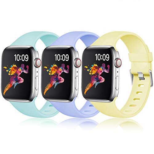 Laffav Band Compatible with Apple Watch 44mm 42mm, Soft Lightweight Sport Bands for iWatch Series 4 3 2 1, Milk Yellow, Lilac, Mint Green, 3 Pack, M/L
