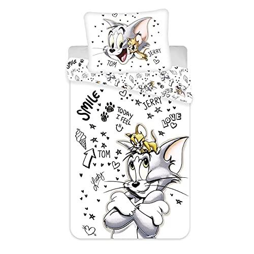 Tom and Jerry - Juego de funda nórdica para cama individual, talla europea, color blanco y negro