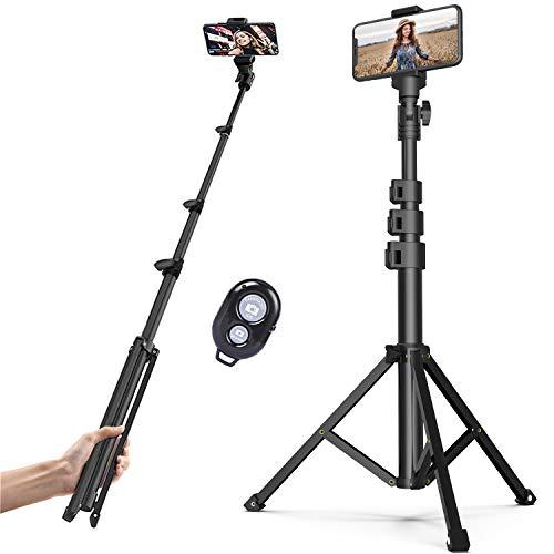 Soft Digits Handy Stativ Selfie Stick,Erweiterbar Wireless 3 in 1 Selfie Stick Stativ 131cm mit Bluetooth-Fernbedienung und Halterung,Kamera Stativ für iPhone, Android,Samsung,Smartphones