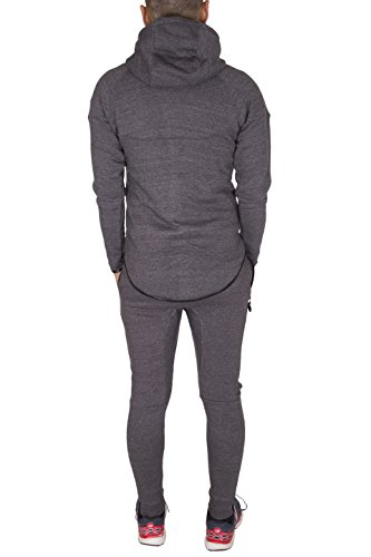 NOROZE Boys Kids Skinny Fit Panel Tracksuit Hooded Jogging Full Set (Charcoal, 7-8 Years)