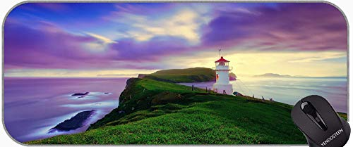 Desk Mousepad Computer Keyboard Mat with Stitched Edges,Lighthouse Sea Cliffs Water Away Road Non-Slip Base Long XXL Large Gaming Mouse Pad
