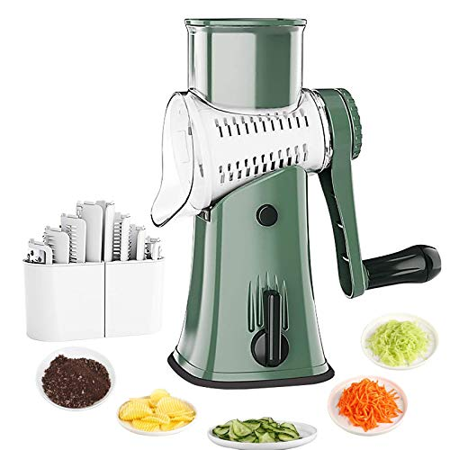 Kowth Cheese Grater Rotary Vegetable Slicer 5 in 1 Rotary Drum Vegetable Grater Multi Cheese Shredder in Kitchen for Fruit Potato Nuts-Green