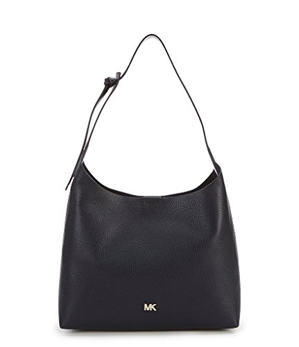 Softly pebbled leather Magnetic snap closure, Top flat carrying handle strap drop: 12 1⁄2 in Interior: Three back-wall slip pockets Exterior: Back slip pocket, Flat bottom, Signature logo hardware detail at front, Bottom Width: 13 1⁄2 in, Depth: 4 1⁄...
