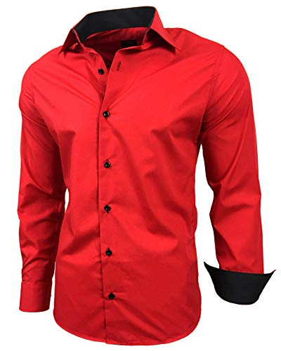 Baxboy Herren-Hemd Slim-Fit Bügelleicht Für Anzug, Business, Hochzeit, Freizeit - Langarm Hemden für Männer Langarmhemd R-44, Farbe:Rot, Größe:M