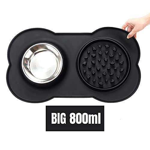 Hundenapf Grosse antischlingnapf, silikon rutschfeste futternapf Hunde, sichere ungiftige und gesunde fressnapf,leicht zu Reinigen abnehmbare napf,Schwarze,ca.800ml