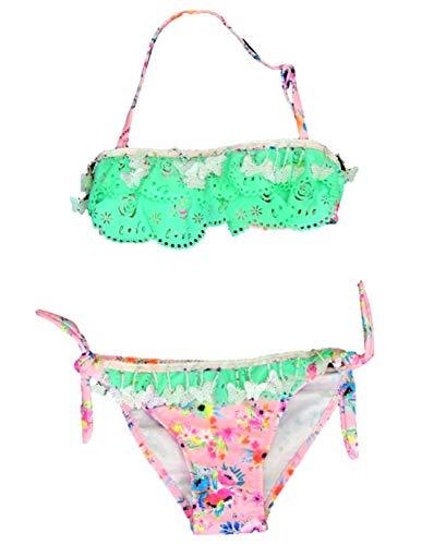VanessaShop Mooie meisjes halster bikini met gatpunt, parelkettingen en vlinderhangers op een grote bloemenprint in de maten 122-164