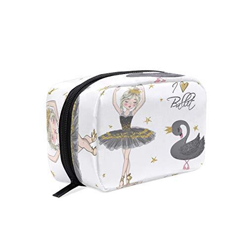 BKEOY - Neceser de maquillaje para niña de bailarina, cisne negro, bolsa con cremallera, bolsa organizadora de brochas de maquillaje