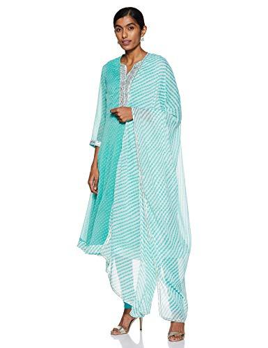 Biba Turquoise Art Silk Kalidar Suit Set Size 38
