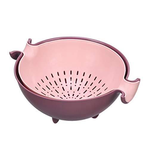 CARRYKT Kitchen Double Drain Basket Bowl Rice Washing Colander Strainer Vegetables Fruit Storage Holder
