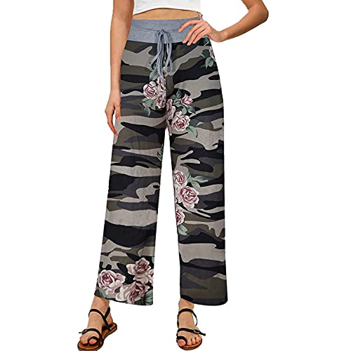 Damen-Radhose, Radsporthose für Damen, Schneehose, Capri Hose, Pyjamahose mit Druck, bequem, breiter Bein, Palazzo Lounge mit Kordelzug, (#001) Camouflage, M