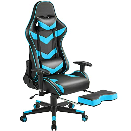 Yaheetech Sedia da gaming, ergonomica, girevole, regolabile in altezza, con poggiapiedi e schienale alto, con braccioli regolabili, blu neon