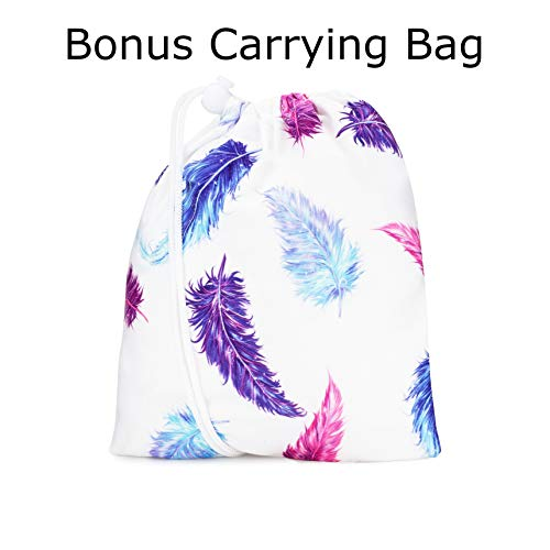 Nursing Cover, Car Seat Canopy for Babies, Infant Breastfeeding Scarf - High Chair, Stroller, Baby Carrier Cover for Girls, Soft, Stretchy, Shower Gifts, Step 1 Kids (Pink, Blue Feathers)