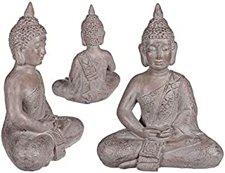 Invero - Figura Decorativa de Buda sentada a Mano (48 x 36 cm), Color Gris