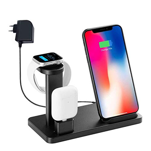 Kabellose Ladestation für Iwatch, YOMENG 10W Qi Schnellladestation 3 in 1 Aluminium Dock für Apple Watch Series 5 4 3 2 1 und iPhone 11 X XR XS Max 8 Plus und AirPods Pro