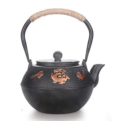 Yruog Teteras Tetera de hierro fundido Tetera japonesa hecha a mano de hierro fundido con infusor de acero inoxidable Teteraantiguapara té de hojas sueltas Negro 1200ML