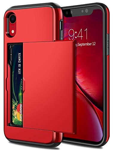 SAMONPOW Case for iPhone XR Hybrid iPhone XR Wallet Case Card Holder Shell Heavy Duty Protection Anti Scratch Dual Layer Hard PC Soft Rubber Bumper Cover for iPhone XR 6.1 inch Metallic Red