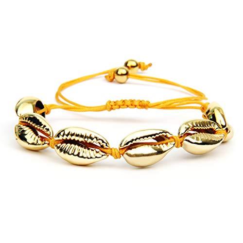 GD GOOD.designs EST. 2015 ® Offre DINTRODUCTION Bracelet Coquillage pour Femme (réglable) (Or (Corde))