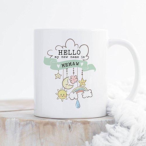 Zwangerschap Aankondiging Cadeau voor Nieuwe Oma Memaw Mimi Gigi Meemaw, Hallo Mijn Nieuwe Naam is Oma Koffiemok, Geslacht Neutraal Groen, Cadeau-idee 11 oz Thee of Koffiemok