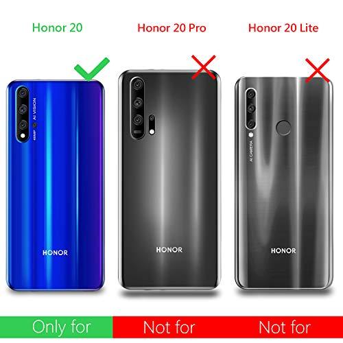 Leathlux Huawei Honor 20 / Nova 5T Hülle + [2 Stück] Panzerglas Schutzfolie, Honor 20 Durchsichtig Case Transparent Silikon TPU Schutzhülle 9H Härte HD Panzerglasfolie Glas für Honor 20/ Nova 5T - 2