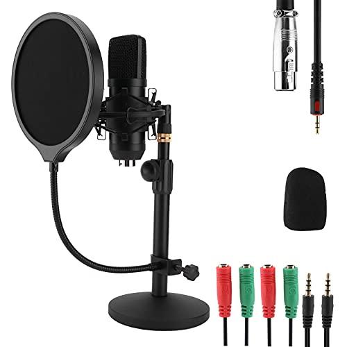 Micrófono USB, condensador de computadora, micrófono para juegos de PC con soporte, dispositivo en vivo sin unidad USB, micrófono de condensador, grabación de diafragma pequeño para juegos, podcast, t