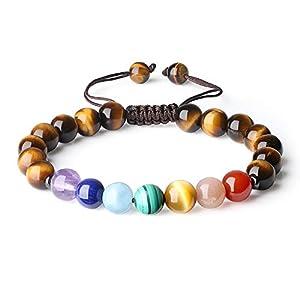 coai® Geschenkideen Glücksarmband aus 7 Chakra und Tigerauge Gelb mit Verstellbarem Nylonband Yoga-Armband für Damen und Herren