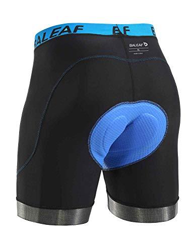 BALEAF Men's Bike Shorts Cycling Underwear 4D Padded Bicycle Biking Riding Biker MTB Liner Shorts Pockets Anti-Slip Leg Grips Blue L