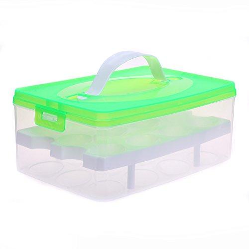 2 Layer Eierhalter für 24 Eier, Eierbehälter Transportbox mit Deckel & Clipverschluss, Eier Aufbewahrungsbox Lagerbehälter Vorratsbox EierBox für Transport, Kühlschrank Küche, Grün, TKD6101 green
