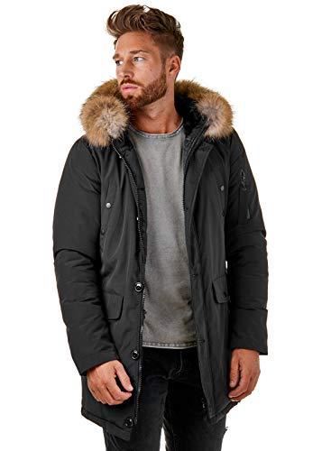 BR1845 Herren Winter-Jacke Echtfell Parka Gefüttert Schwarz Khaki, Größe:M, Farbe:Schwarz