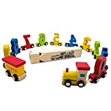 NEWLAND Wooden Train Toy Set for Kids Toddler...