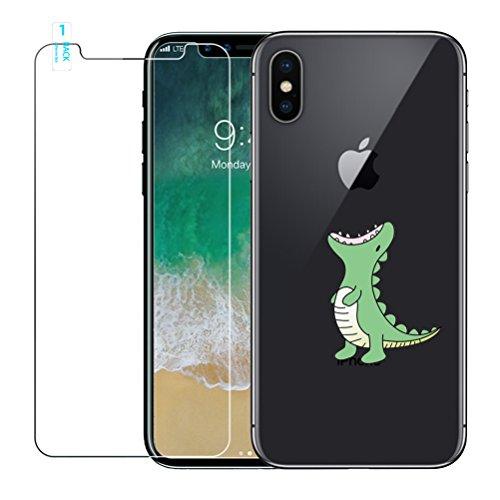 Funda iPhone X, Case iPhone 10 con [Protector de Pantalla de Vidrio Templado], Cover Ultra Fina de Silicona Gel Suave TPU con Dibujos Animados Lindo Patrón para Apple iPhone X / 10,Cocodrilo