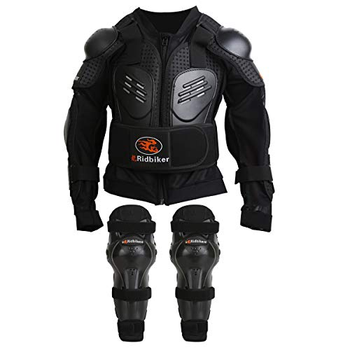 RIDBIKER Kids Youth Armor Protective Armor Suit for Child Dirt Bike Chest Spine Protector Back Shoulder Arm Elbow Knee Pad Body Armor Vest,Black(M)
