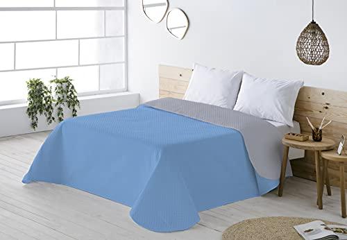 BOHEME Colcha Ligera Multiusos Reversible Lisa Color Azul/Gris Cama 90 cm