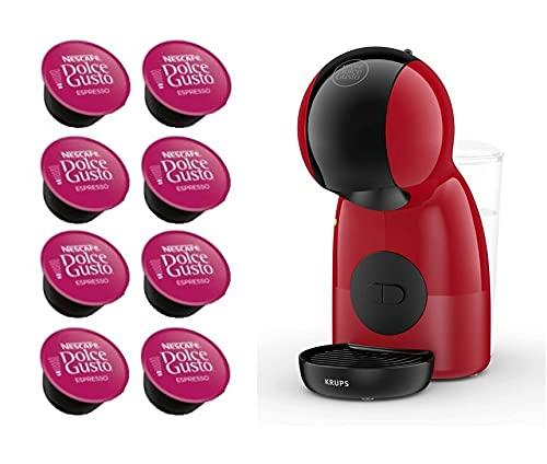 DOLCE GUSTO PICCOLO XS KP1A3510 • Cafetera manual 15 bar • Cafetera espresso y otras bebidas + 8 cápsulas (PICCOLO XS • Rojo)