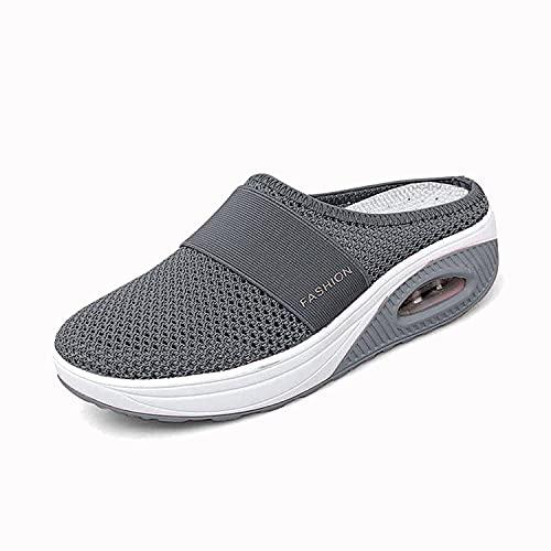 TLOAIO Zapatos de senderismo ortopédicos con cojín de aire para mujer, zapatos ortopédicos para caminar para mujeres, transpirables, informales, con cojín de aire (gris oscuro, 39)