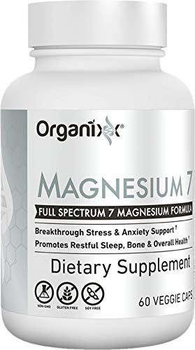 Organixx: Magnesium 7 - High Absorption Daily Stress Relief and Sleep Supplement with 7 Chelated Forms - 60 Capsules - Includes Vitamin B6 and Manganese Citrate - Vegan, Non-GMO - Made in The USA