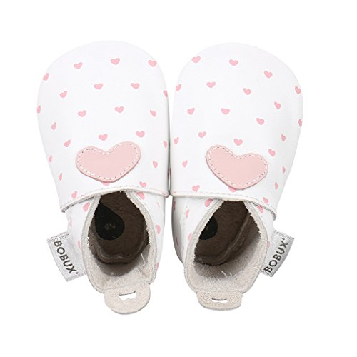 Bobux - Weiche Sohlen - Weiß Mit Blütenherzdruck - Babyschuhe - EU 15