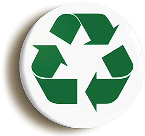 Ozorath RECYCLING LOGO GREEN BADGE PIN BUTTON (Size is 2inch/50mm diameter) ENVIRONMENT ECOLOGY