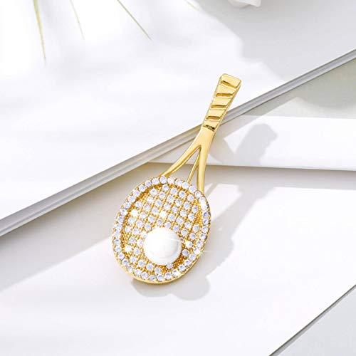 N-B Pin de Raqueta de Tenis con Diamantes de imitación Creativo, Broche de circonita a la Moda, joyería Fina para Mujer
