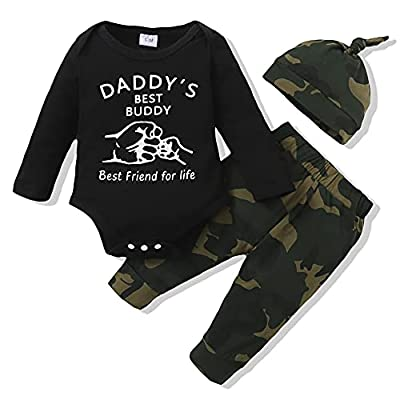 Newborn Baby Boy Outfits Winter Baby Boy Stuff for Newborn One Piece Romper Long Pants Matching Hat Fall Baby Boy Clothes 3-6 Months from