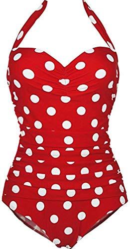 Traje De Baño para Bikini Halter Pin Up Mujer Optimizador Ropa Festiva De Vientre Plano Monocromo Traje De Baño Monokinis Eu34 Eu46 Tamaño M (Color : Punktmuster Rot, Size : L)