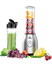 Acoqoos Smoothie Mixer, mini-blender voor smoothie, shakes, ijs en diepvriesvruchten, met 2 Tritan BPA-vrije 600 ml mengbekers, EU-stekker, 400 W, 400 W